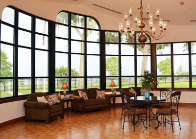 Buckeye Hall common area with views of the St. Johns River