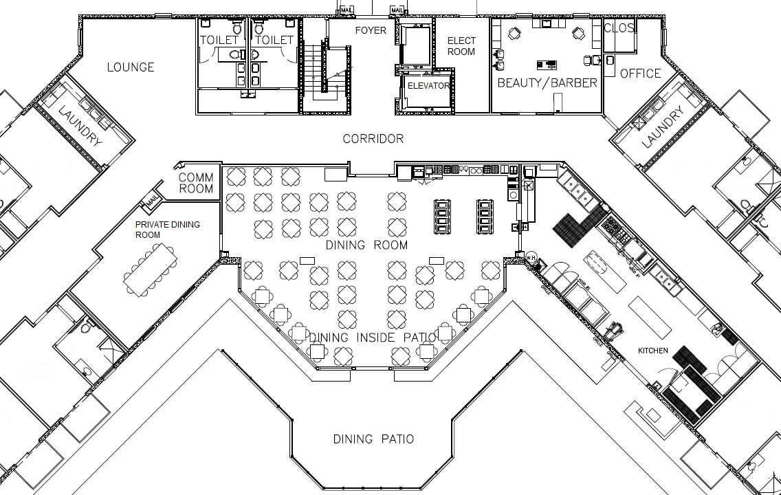 floor plan of Centennial Hall common area
