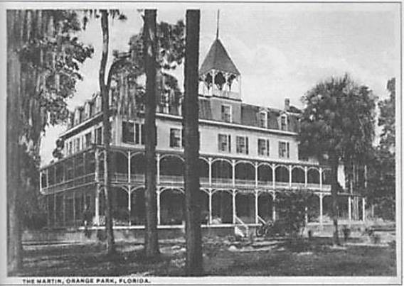 "The Marion Hotel, an historic 4 story building with wrap-around porches, was the first ""Moosehaven."" Black and white picture circa 1922."