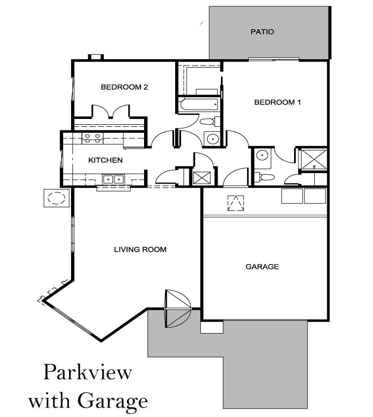 Parkview Villa floor plan with garage