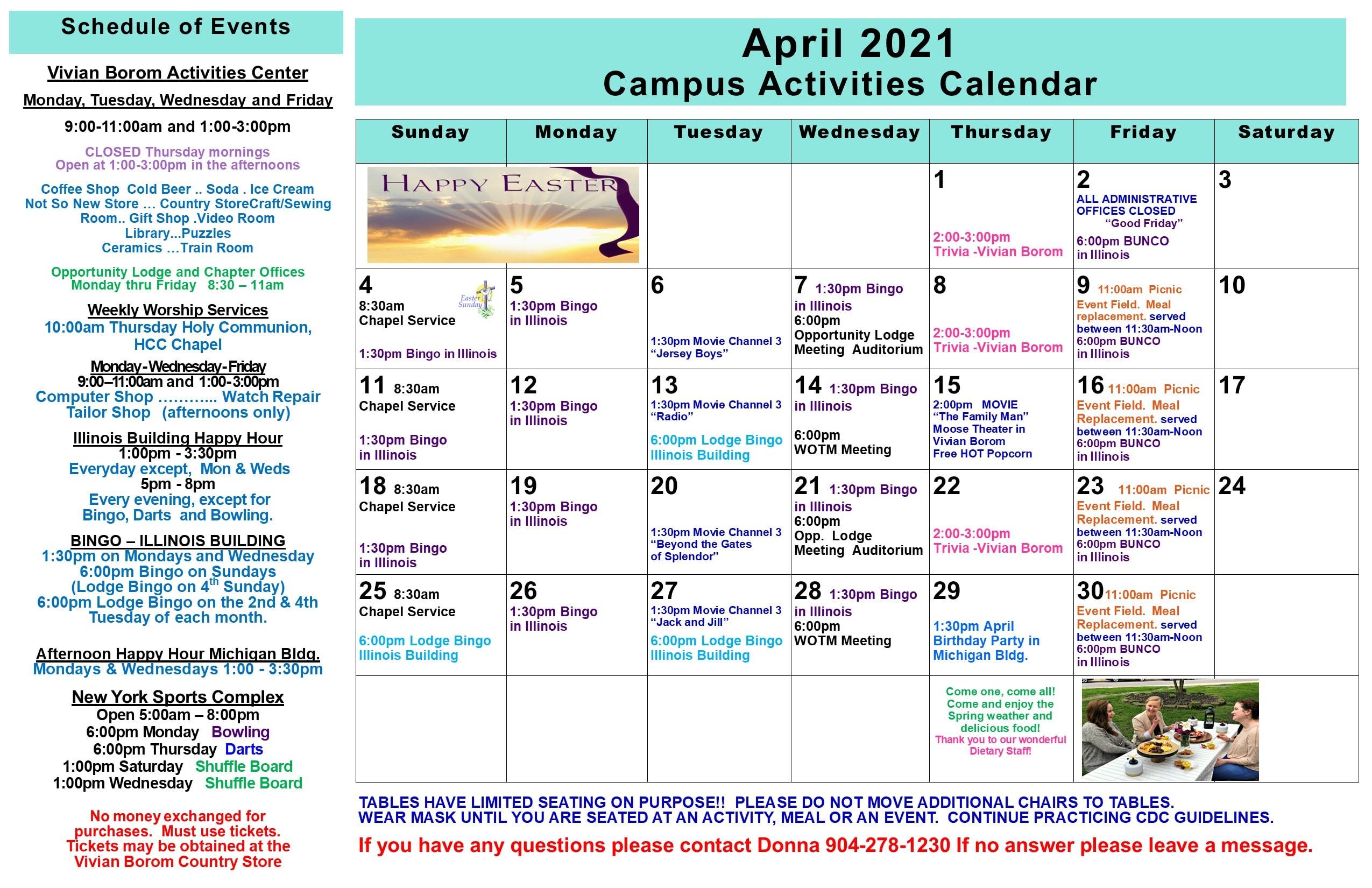 April Activities Calendars 2021